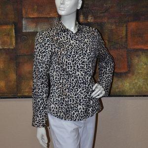 Pink Tartan Leopard-Print Long Sleeve Tie-Scarf